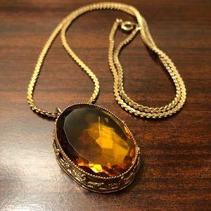 Vintage Art Deco Amber Glass LRG Pendant Necklace